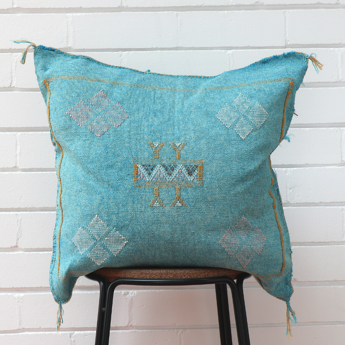 Moroccan Cactus Silk Feather Filled Cushion - Light Blue with Yellow, Pink & Blue