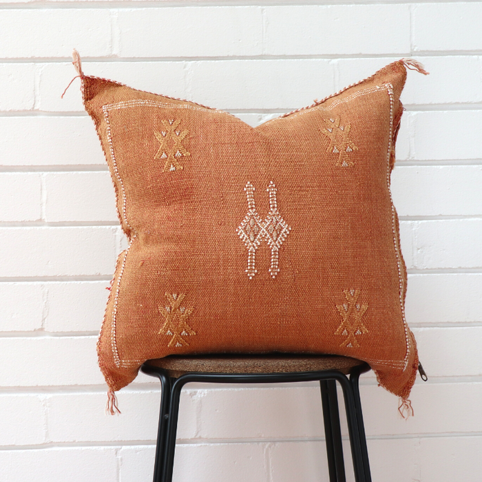 Moroccan Cactus Silk Feather Filled Cushion - Tobacco with White & Yellow Berber Motifs