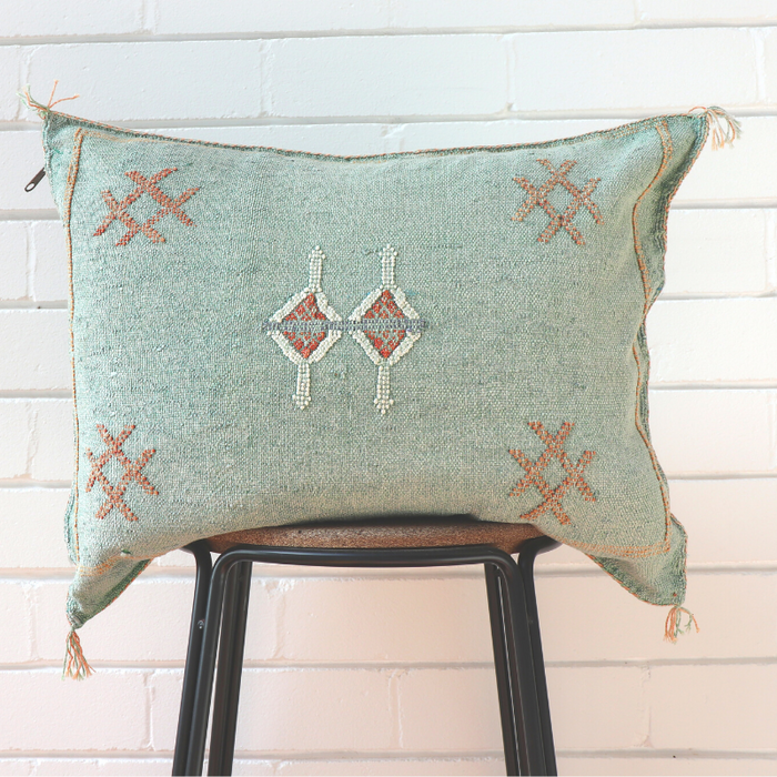 Cactus Silk Feather Filled Cushion - Emerald With White & Dark Tan Berber Motifs