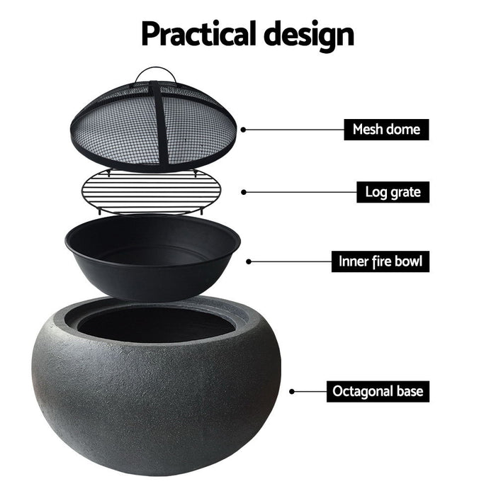 Outdoor Cement Finish Fire Bowl - Oval
