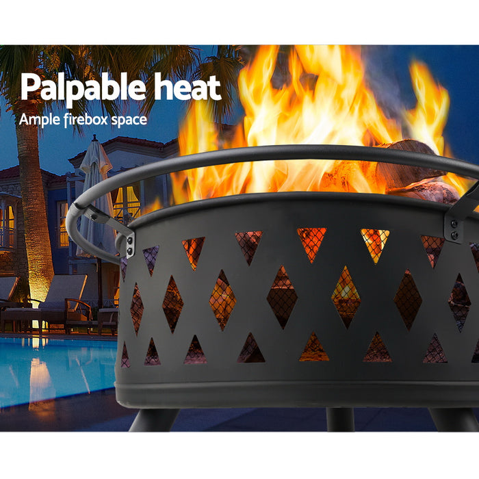Portable Outdoor Fire Pit and BBQ - 81cm Diameter