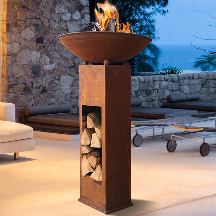 Rustic Outdoor Cast Iron Fire Pit - 58cm