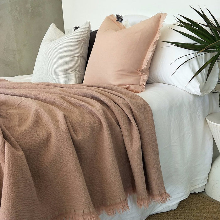 Heavy Weight 100% Pure French Flax Linen Bed Cover with Fringe Edge- Dusty Pink