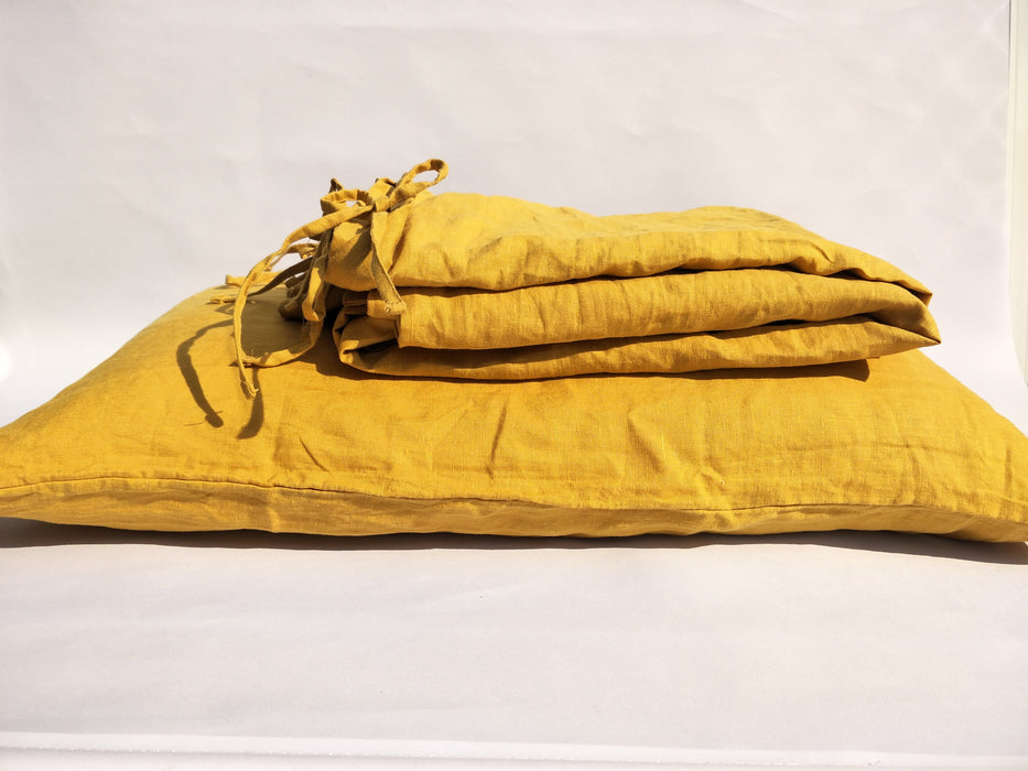 Heavy Weight 100% French Flax Linen Quilt Cover Set - Mustard