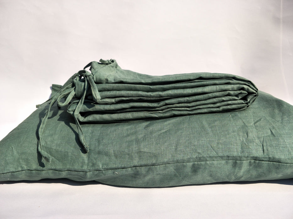 Heavy Weight 100% French Flax Linen Quilt Cover Set - Sage