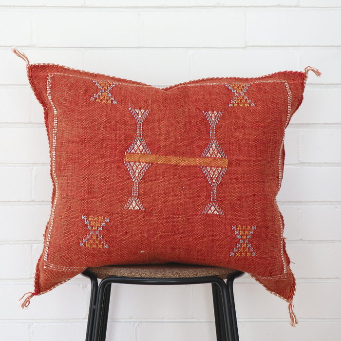 Moroccan Cactus Silk Feather Filled Cushion - Burnt Terracotta with Baby Blue, Orange & White Berber Motifs