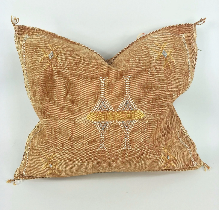 Moroccan Cactus Silk Feather Filled Cushion -Gold with Yellow, White & Baby Blue Berber Motif