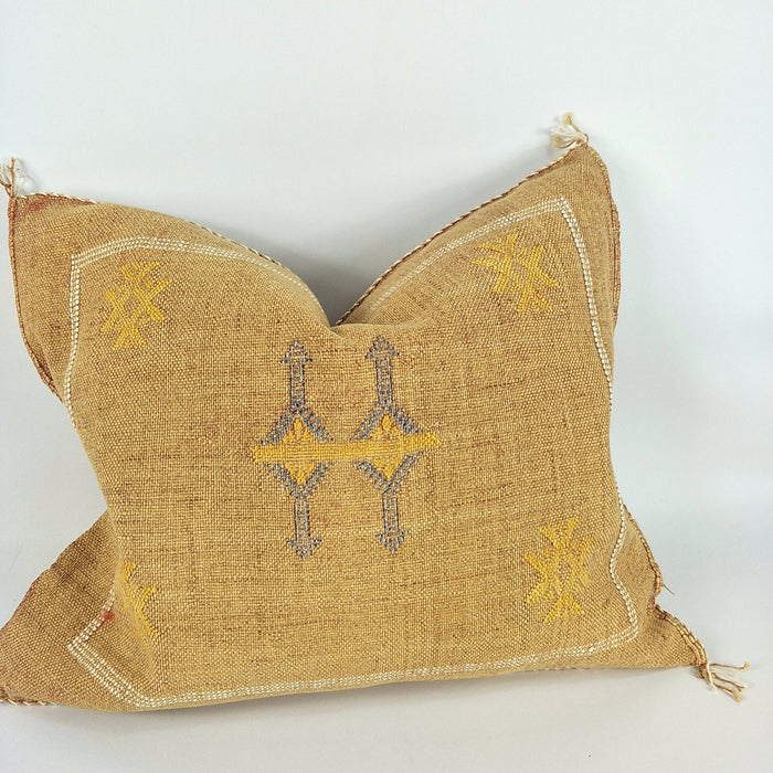 Cactus Silk Feather Filled Cushion - Golden Tan with Yellow, Blue & White Berber Motif