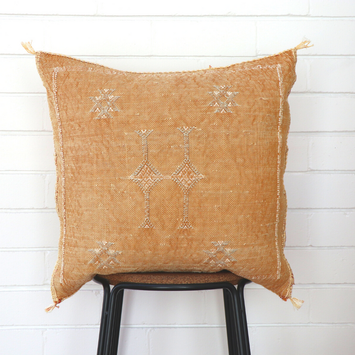 Moroccan Cactus Silk Feather Filled Cushion - Golden With White & Light Grey Berber Motif