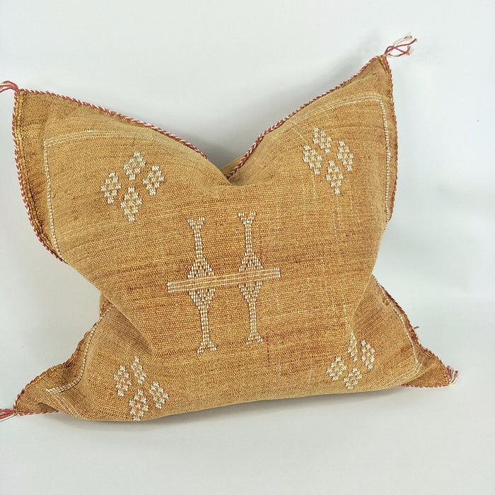 Moroccan Cactus Silk Feather Filled Cushion - Golden Tan with Yellow & White Berber Motif