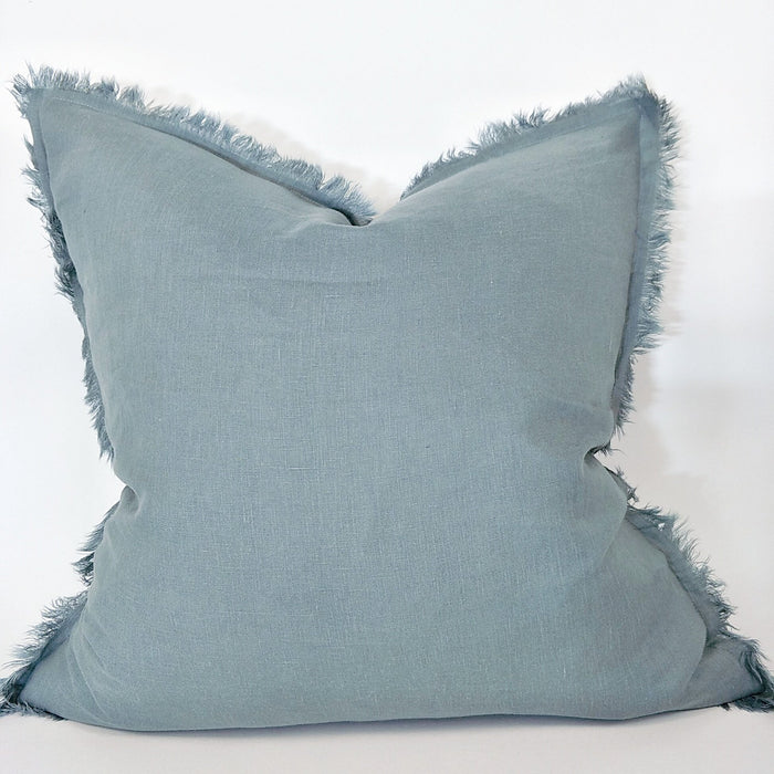 100% French Flax Linen Feather Filled Cushion - Deep Blue