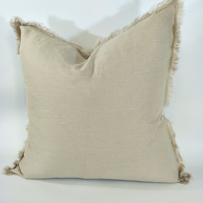 100% French Flax Linen Feather Filled Cushion - Tortilla