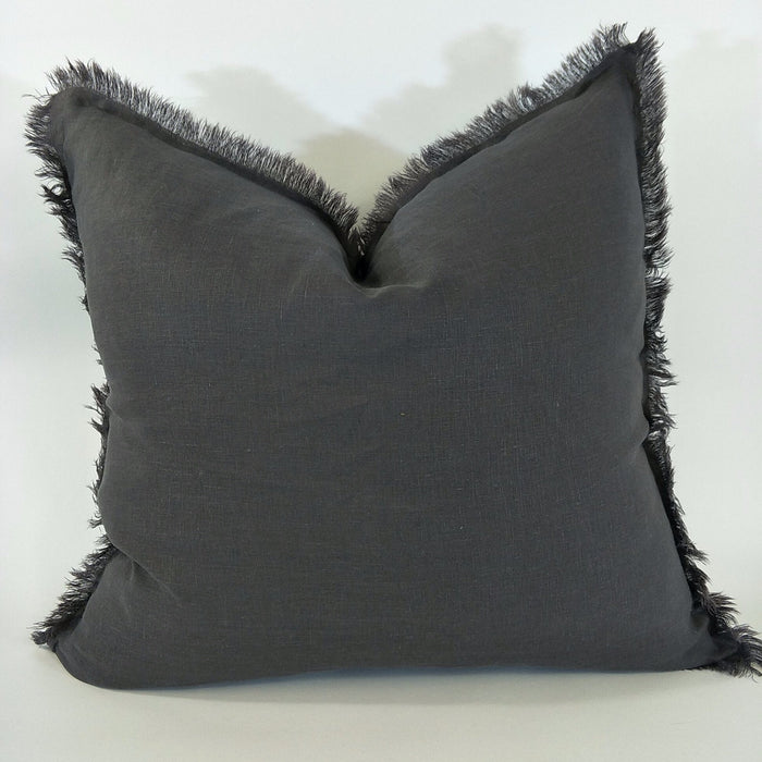 100% French Flax Linen Feather Filled Cushion - Charcoal