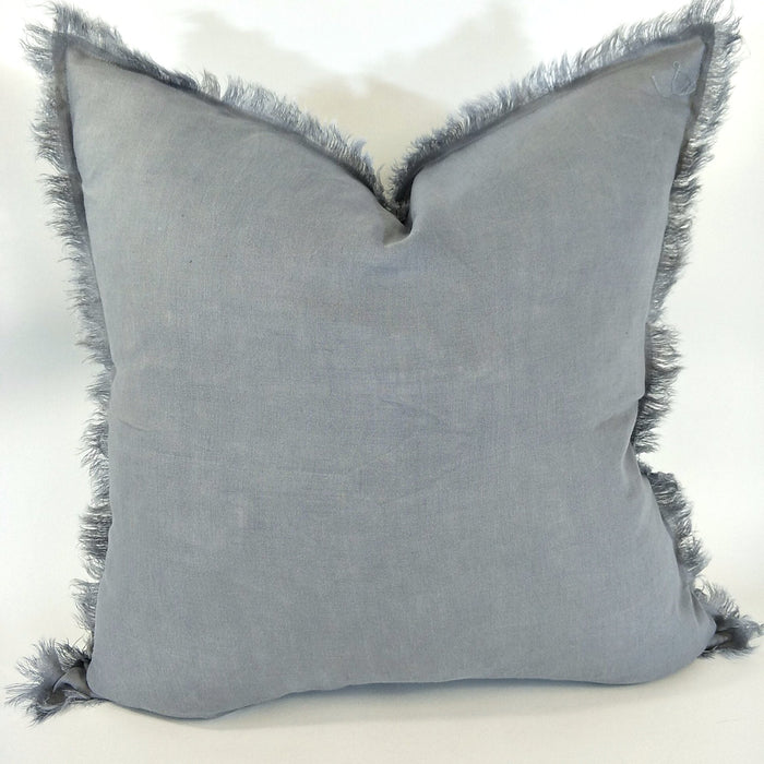 100% French Flax Linen Feather Filled Cushion - Dark Grey