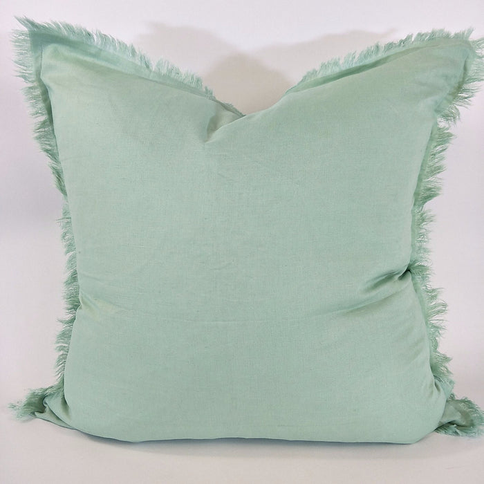 100% French Flax Linen Feather Filled Cushion - Mint