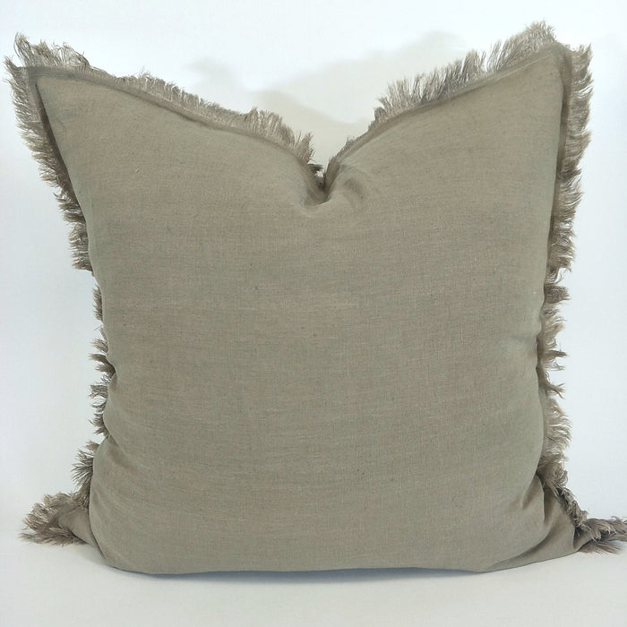 100% French Flax Linen Feather Filled Cushion - Mocha