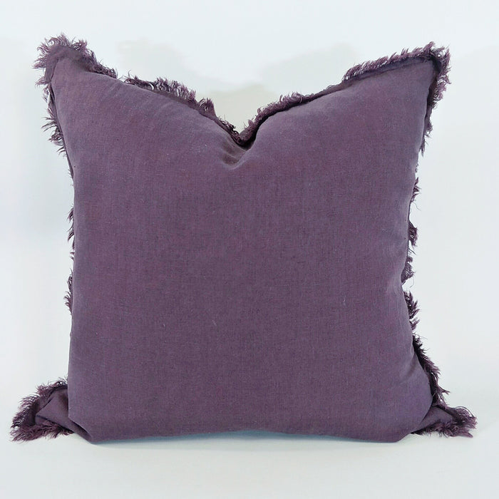 100% French Flax Linen Feather Filled Cushion - Plum