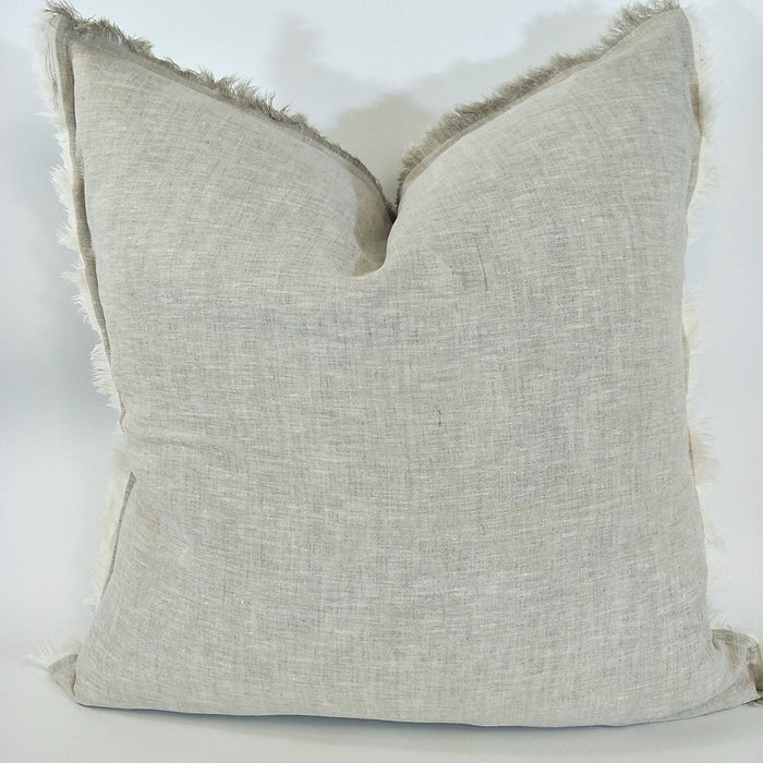 100% French Flax Linen Feather Filled Cushion - White & Natural