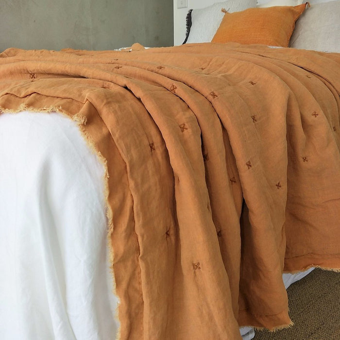 100% Pure French Flax Linen Quilted Bed Cover with Fringe Edge