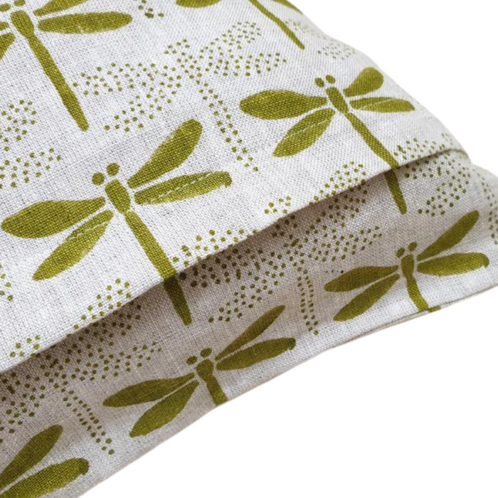 Artisan Hand Block Printed Feather Filled Cushion - Japandi Dragon Fly Green