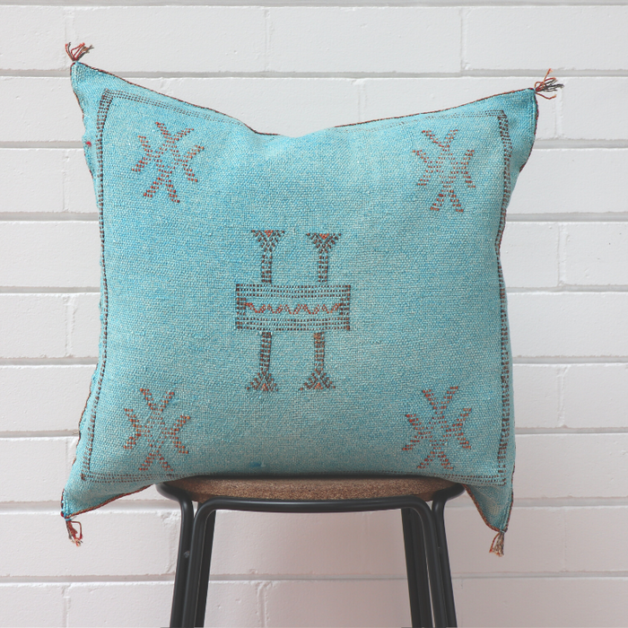 Moroccan Cactus Silk Feather Filled Cushion - Light Aqua with Dark Brown and Red