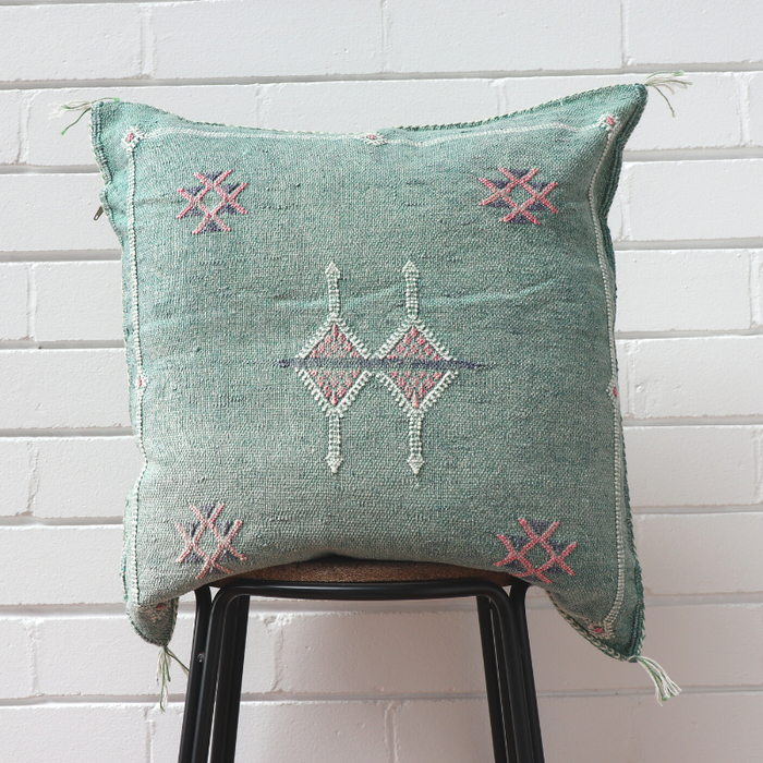 Cactus Silk Feather Filled Cushion - Light Emerald Green with White, Pink & Dark Blue Berber Motifs