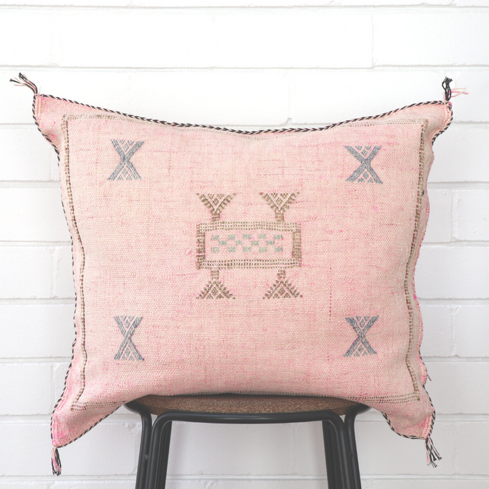 Moroccan Cactus Silk Feather Filled Cushion - Light Pink With Blue & Brown Berber Motif
