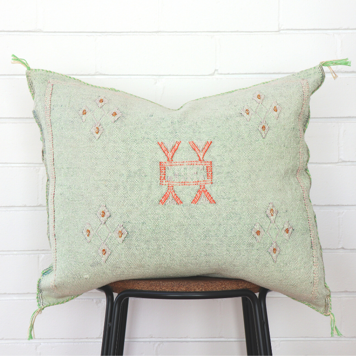 Moroccan Cactus Silk Feather Filled Cushion - Light Sea Green With Bright Orange & White Berber Motifs