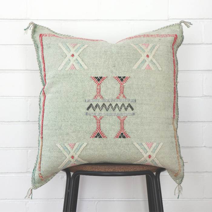 Moroccan Cactus Silk Feather Filled Cushion - Light Sea Green With Pink & White Berber Motifs