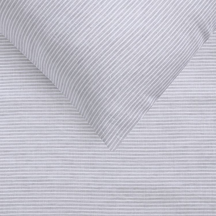 Yarn Dyed 100% French Flax Linen Quilt Cover Set - Light Grey Stripe