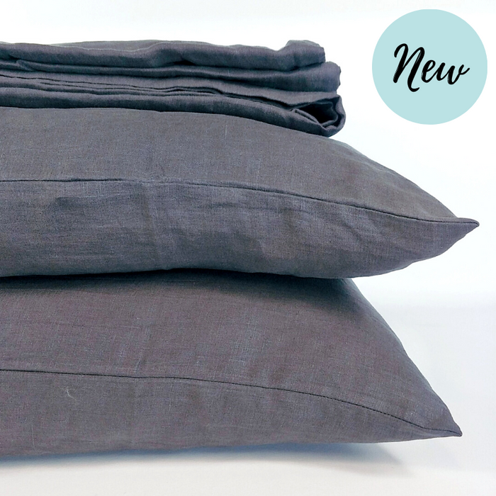 Heavy Weight 100% French Flax Linen Quilt Cover Set - Charcoal