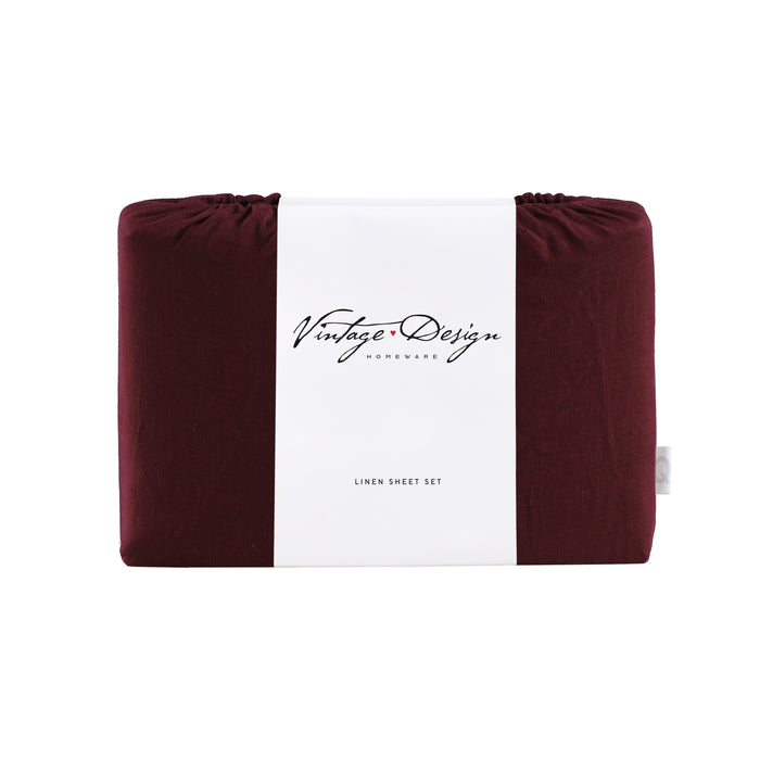 100% French Flax Linen Sheet Set - Merlot