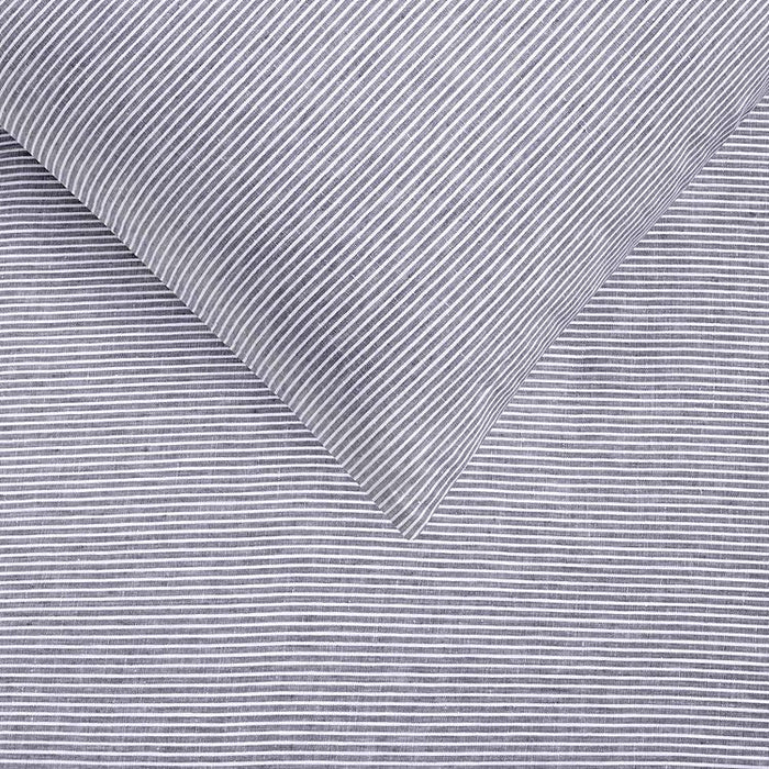 Yarn Dyed 100% French Flax Linen Quilt Cover Set - Mid Grey Stripe
