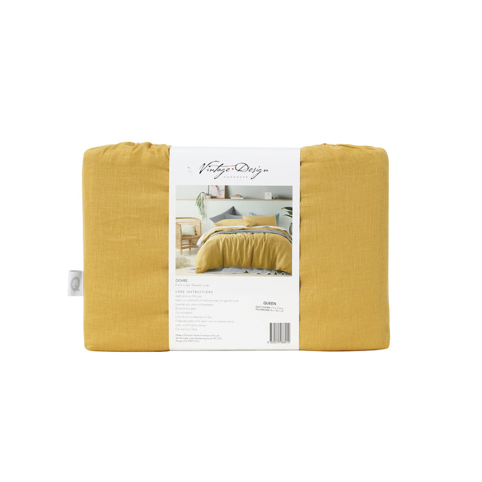 NEW 100% French Flax Linen Quilt Cover Set - Ochre