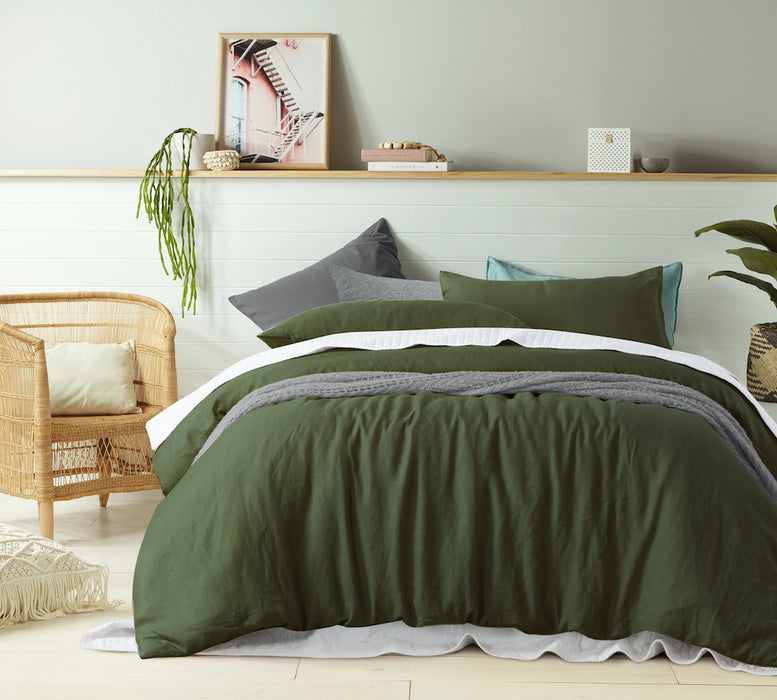 NEW 100% French Flax Linen Quilt Cover Set - Oliver Green