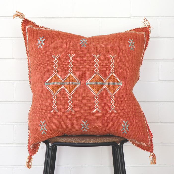 Moroccan Cactus Silk Feather Filled Cushion - Light Orange With Blue & White Berber Motifs