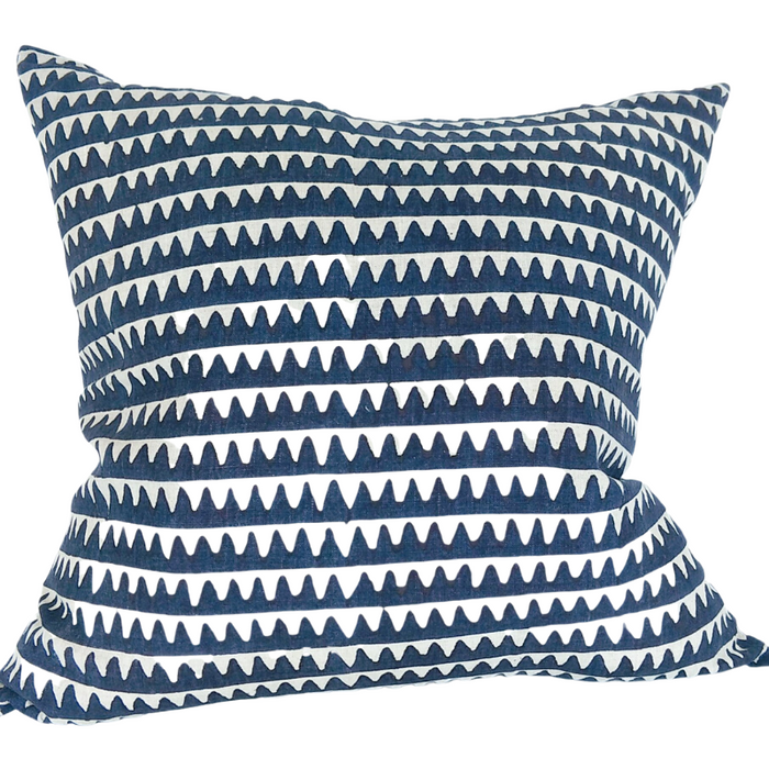 Artisan Hand Block Printed Feather Filled Cushion - Oxford Chervon Teal