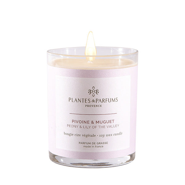 Plantes & Parfums -180g Handcrafted Perfumed Candle - Peony and Lily of the Valley