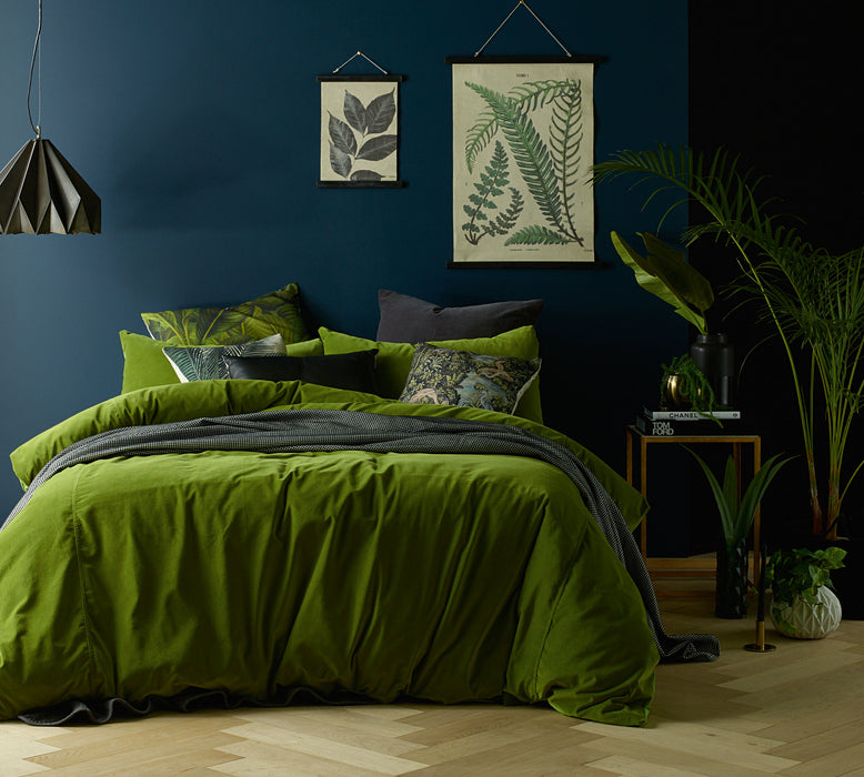 Cotton Velvet Quilt Cover Set - Mossy Green