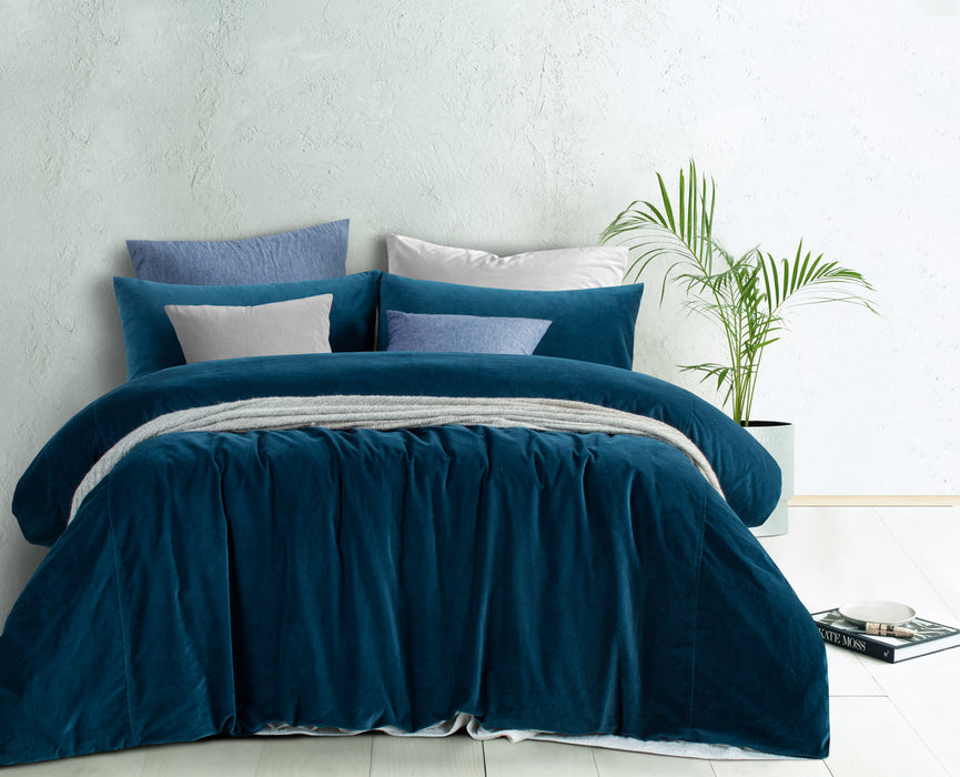 Cotton Velvet Quilt Cover Set - Riverland Blue