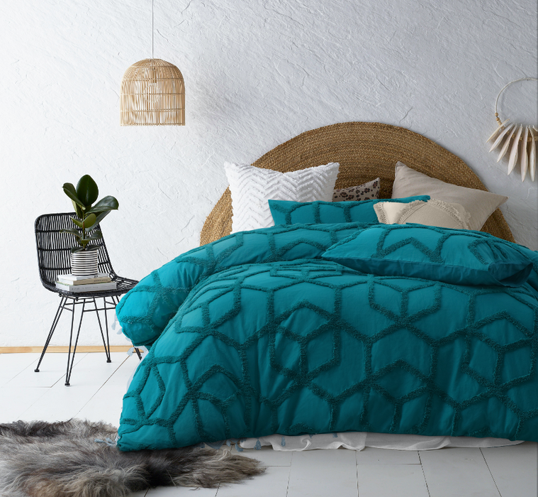 Chenille Cotton Quilt Cover Set- Teal