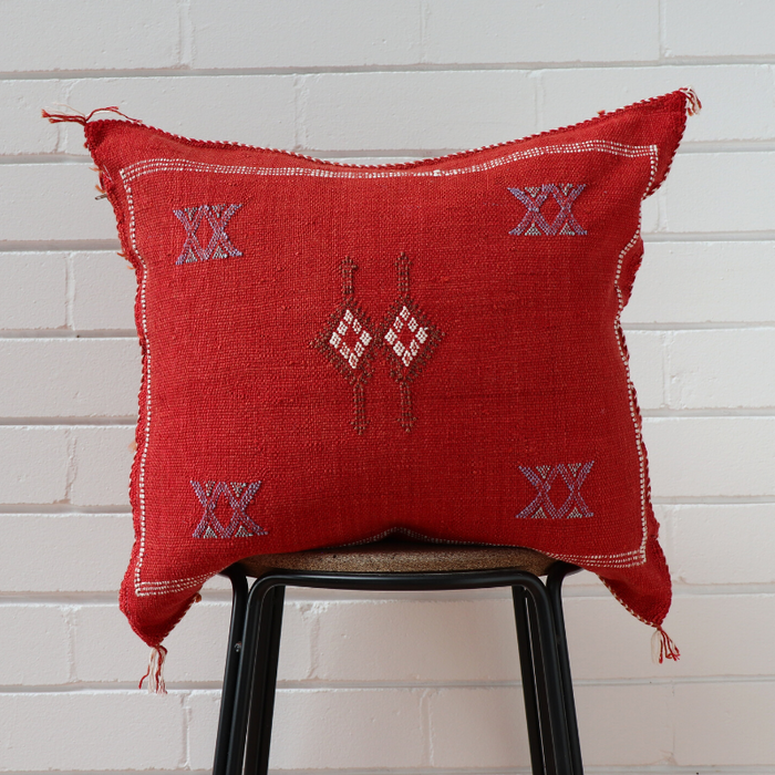 Cactus Silk Feather Filled Cushion - Red With Dark Brown Blue and White Berber Motifs