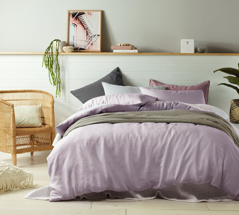 100% French Flax Linen Quilt Cover Set - Mauve