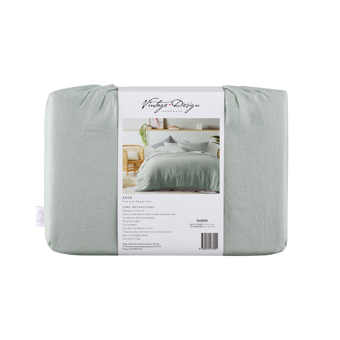 100% French Flax Linen Sheet Set - Sage