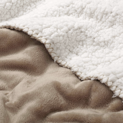 Warm Sherpa Fleece Blanket - Natural