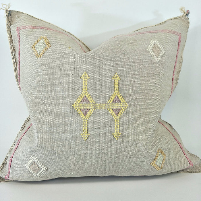 Moroccan Cactus Silk Feather Filled Cushion - Silver with Yellow & Pink Berber Motif