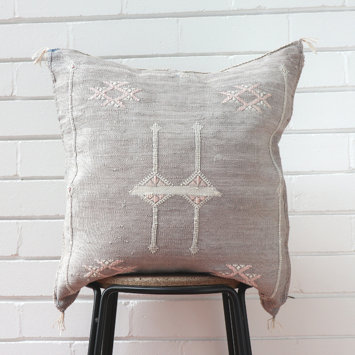 Cactus Silk Feather Filled Cushion - Silver with White & Baby Pink Berber Motifs