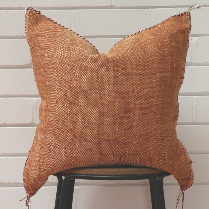 Moroccan Cactus Silk Feather Filled Cushion - Tan