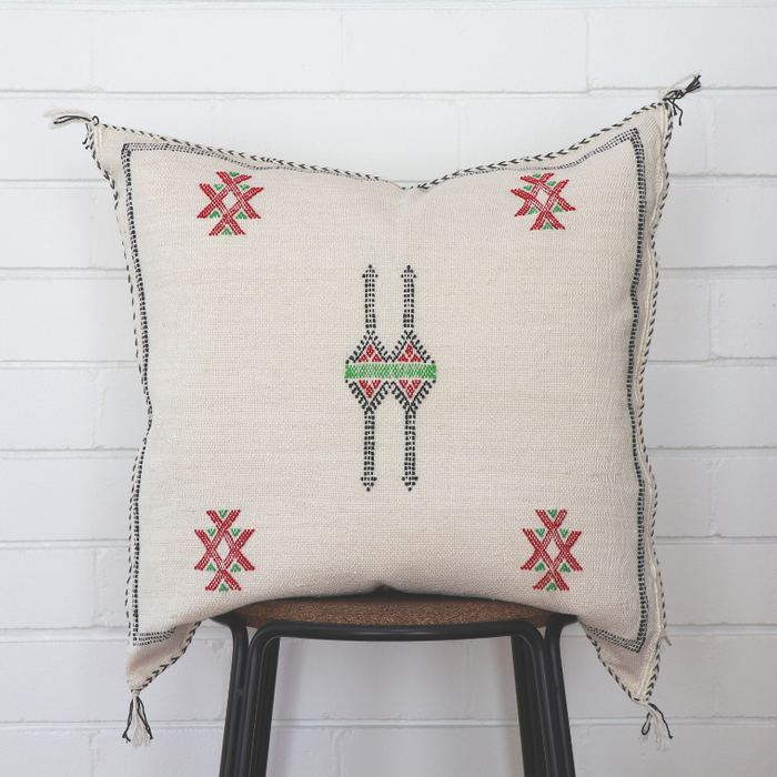 Moroccan Cactus Silk Feather Filled Cushion - White with Black, Red and Green