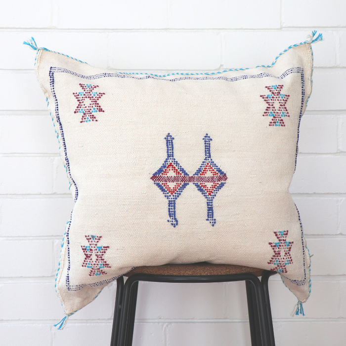 Moroccan Cactus Silk Feather Filled Cushion - White with Dark Blue & Red